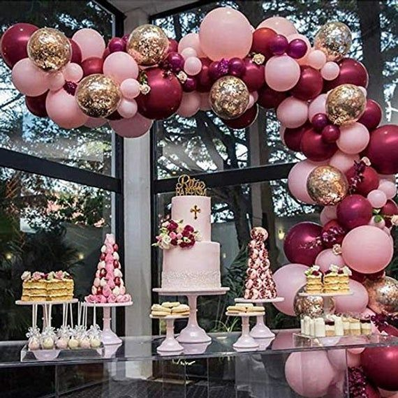 16ft Burgundy, Wine Red, Rose Gold Pink Balloon…
