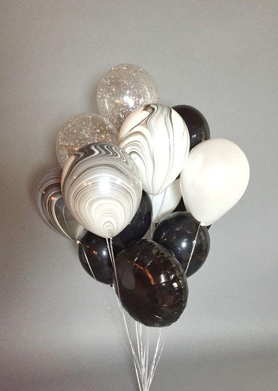 Giant Black and White Balloon Bouquet _ Confetti…