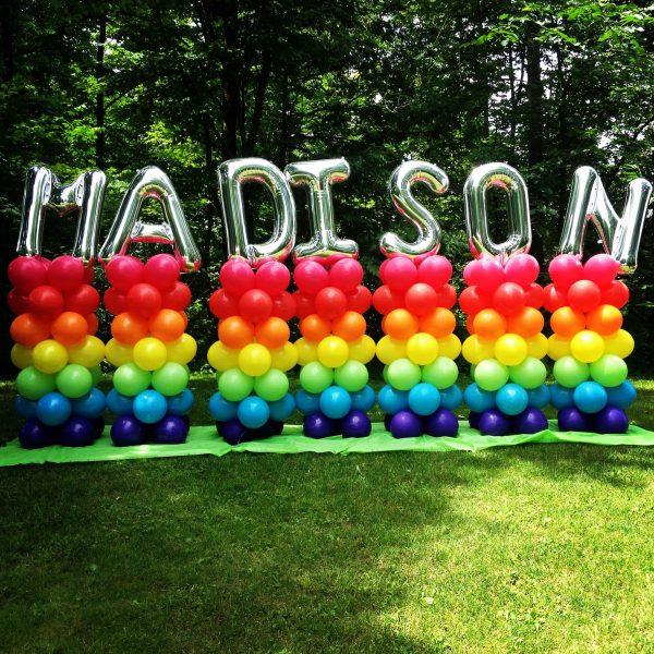 Name rainbow balloon pillar