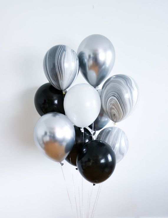 Giant Black and White Balloon Bouquet _ Confetti Balloons _ Black and White Marbled Balloons