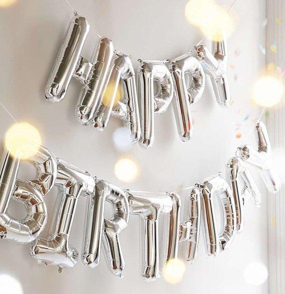 Happy Birthday - Silver Letter Balloon Banner Garland - 16_ - Mylar Foil - Alphabet Letter Number -